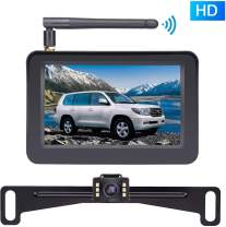 """Rohent HD Color Wireless Backup Camera and 4.3"""" Monitor System for Cars/SUVs/MiniVans/ATVs/Tractors IP69 Waterproof Rear/Front View Camera with Grid Lines DIY Setting-R10"""
