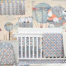 Brandream Gray Crib Bedding Sets Fox Nursery Bedding for Boys and Girls with Bumper Pads Classic Floral Baby Bedding 11 Piece with Animal Print 100% Cotton Baby Shower Gifts