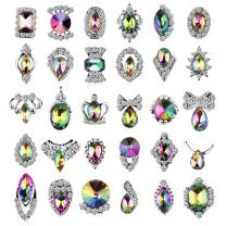 30pcs Rhinestones for Nails, Colorful AB Iridescent 3D Nail Diamonds Glass Crystal Metal Gems Jewels Stones for Nails Art Decoration