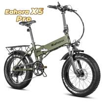 eAhora X5 Pro 4.0 Fat Tire Folding Electric Bicycle 20 inch 500W Electric Bikes for Adults, 48V Cruise Control Beach E-Bike Electric Lock Lithium Battery Power Recharge System 7 Speed