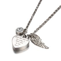 AMIST God has You in his arms with Angel Wing Charm Cremation Jewelry Keepsake Memorial Urn Necklace with Birthstone Crystal