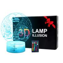 Desk Christmas LED Night Light with 3D Illusion and Remote Control, Christmas LED Desk Table Lamp, 16 Colors Changing, LED Night Lamps for Home Room Decoration Birthday Toy Kids(Merry Christmas)