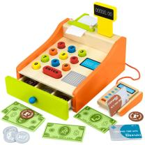 Change & Charge Cash Register Toy with Play Money for Kids (22pcs) – Wooden Play Toy Includes Coins, Bills & Credit Cards - Teaching Tool, Educational & STEM Learning Resource - Cashier Pretend Play