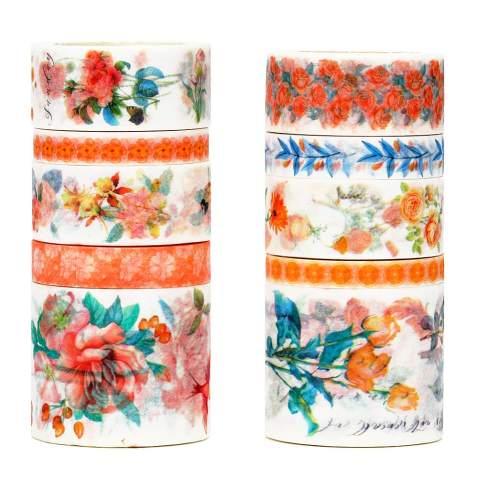 Paper Tape Crafting Decorative Tape Yellow Retro Flowers Washi Tape Boho Planner Supplies Masking Tape Scrapbook Tape