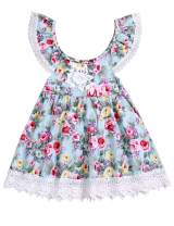 Baby Girl 4th of July Outfits Ruffles Sleeve Dress Lace Floral Vintage Clothes