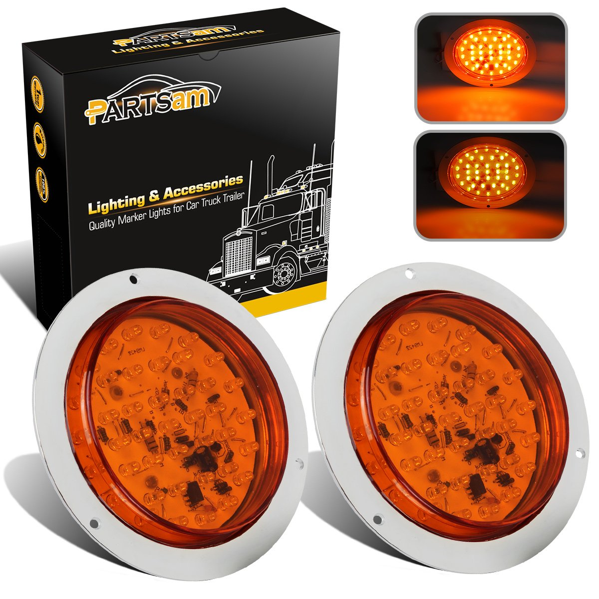 """Partsam 2Pcs 4"""" Round Amber LED Trailer Turn Signal and Parking Lights 40 Diodes Flange Mount,Yellow Flange Mount 4″ Round LED Front Rear Turn Signal Marker Lights"""