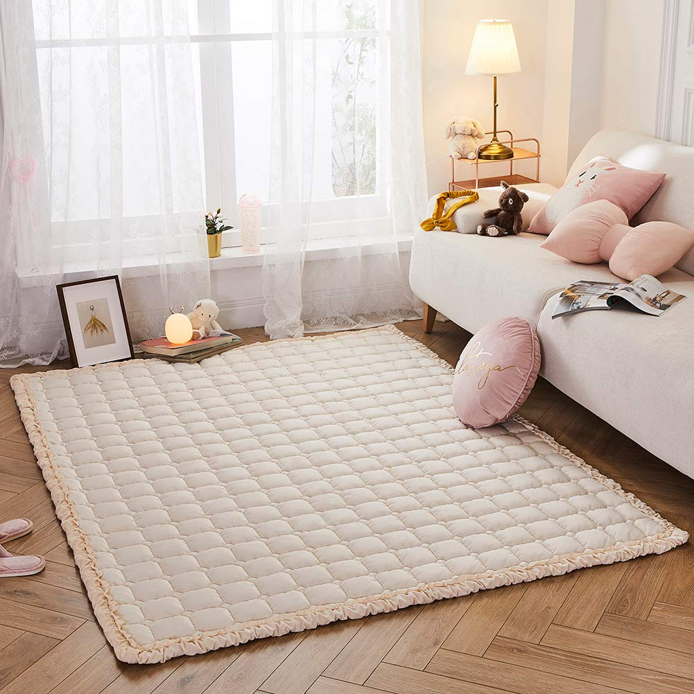 Puff Plush Baby Play Mat, Nursery Area Rug Large Activity Mat, Large Floor Rug for Boys Girls Toddlers, Soft Tummy Time Mat, Exercise Yoga Mat for Bedroom Living Room (Solid Beige)