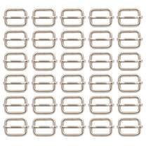 BIKICOCO Metal Slide Adjuster Buckle Tri-Glides with Movable Center Bar, for Adjustable Straps, Non Welded, 0.6x0.5 Inch, Silver, Pack of 30