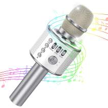 Tesoky Microphone for Kids,Wireless Bluetooth Karaoke Kids Microphone,Best Singing Toys and Gifts for Kids Girls Boys Hot Fun Toys 3-12 Year Old Boys Girl Gifts Toys(Silver)