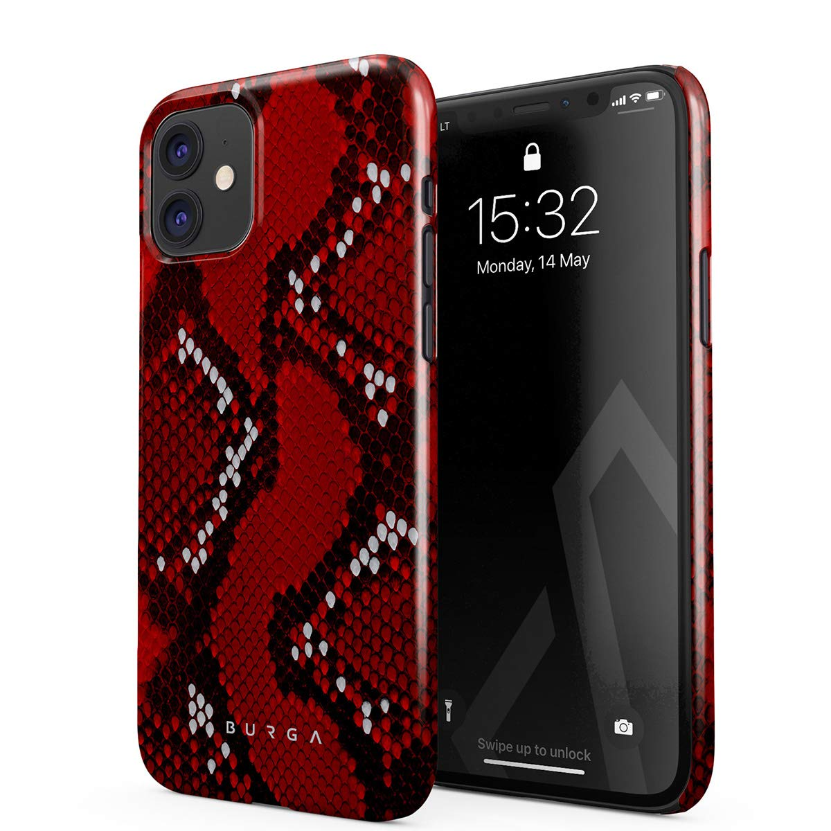 BURGA Phone Case Compatible with iPhone 11 - Crimson Danger Savage Red Snake Skin Cute Case for Women Thin Design Durable Hard Plastic Protective Case