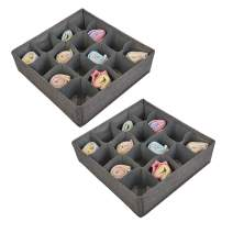 Polecasa Socks and Underwear Organizer - 16 Cells- 2 Pack - Durable Linen Fabric with Thick Cardboard. Drawer Divider Organizers for Socks, Panties, Ties and Lingerie.
