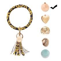 Wristlet Keychain Bracelet Bangle Keyring, Large Key Ring Circle Leather Tassel keychain Bracelet For Girls Women,bangle keychain Keyring(Sunflower)