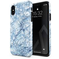 BURGA Phone Case Compatible with iPhone Xs MAX - Arctic Winter Blue Topaz Snow Frost Ice Marble Cute Case for Girls Heavy Duty Shockproof Dual Layer Hard Shell + Silicone Protective Cover