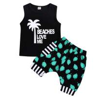 Baby Boys Summer Clothes Pocket/Letter Sleeveless Tops +Plaid/Camouflage Shorts Beach Outfits