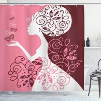 """Ambesonne Pink Shower Curtain, Drawing Girl with Butterflies Floral Ornaments Swirled Branches, Cloth Fabric Bathroom Decor Set with Hooks, 75"""" Long, Pale Pink"""