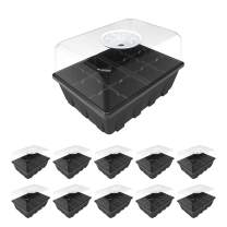 """Gardzen 10-Set Garden Propagator Set, Seed Tray Kits with 120-Cell, Seed Starter Tray with Dome and Base 6.6"""" x 4.5"""" (12-Cell Per Tray)"""