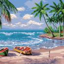Adarl DIY Oil Painting Paint by Number Kit Image Drawing On Canvas by Hand Coloring Arts Crafts & Sewing(Travel Beach)