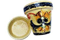 Cactus Canyon Ceramics Spanish Hand-Painted Flower Pot and Saucer, Spanish Campo Design