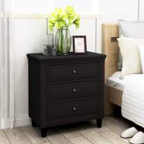 XINdream 3 Drawer Dresser, Solid Wood Nightstand Chest of Drawers with Wide Storage Space, Accent Black Bedside Table Storage Cabinet for Bedroom, Living Room, Entry (Fully Assembled)
