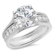 Clara Pucci 2.79 CT Round Cut Halo Bridal Engagement Wedding Ring Sliding Band Set 14k White Gold