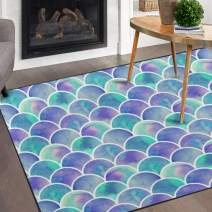Naanle Watercolor Rainbow Mermaid Scale Non Slip Area Rug for Living Dinning Room Bedroom Kitchen, 5' x 7'(58 x 80 inches), Colorful Nursery Rug Floor Carpet Yoga Mat