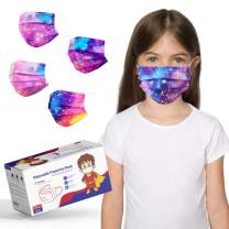 Kids Size Disposable Face Masks, Tie Dye Masks for Boys Girls Individually Wrapped, Childrens Cute Face Mask with Design, Colored Sport Face Cover Mask for School, Small Breathable Toddler Mask for Petite Face - 50 Packs