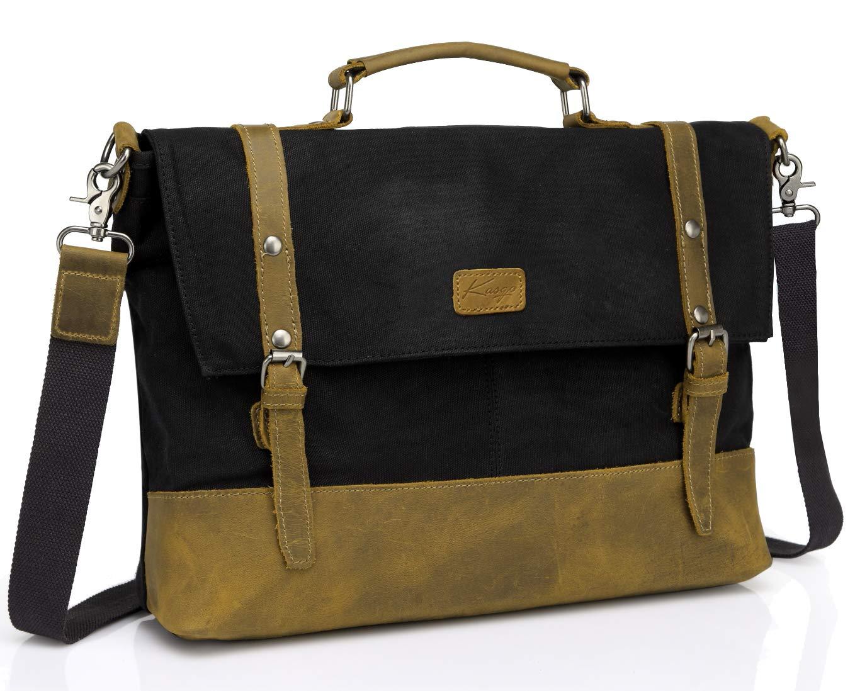 Messenger Bag for Men, Kasqo Vintage 15.6 inch Waxed Canvas Water Resistant Briefcase Leather Shoulder Bag Men Satchel Black