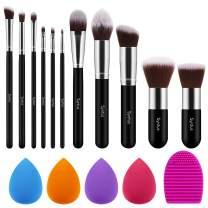 Syntus Makeup Brush Set, 11 Makeup Brushes & 4 Blender Sponges & 1 Brush Cleaner Premium Synthetic Foundation Powder Kabuki Blush Concealer Eye Shadow Black Silver Makeup Brush Kit