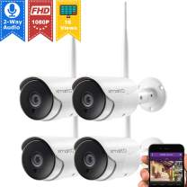 xmartO XMARTO 1080p HD Wireless Security Camera, Two-Way Audio, WiFi Home Surveillance Bullet Camera with Night Vision, Remote Access, IP65 Weather-Resistant, Motion Detection Alert (4-Pack)