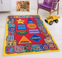 HR-Kids Rugs for Playroom Bedroom 8x10 Boys Girls Children's Room Décor Fun ABC Alphabet Shapes Interactive Gift for Kids Boys Girls Educational Learning Mat Rug Carpet for Nursery School Playroom