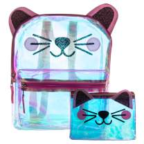 Glitter Cat Face Backpack Set - Holographic Clear Cat Face Mini Backpack Set