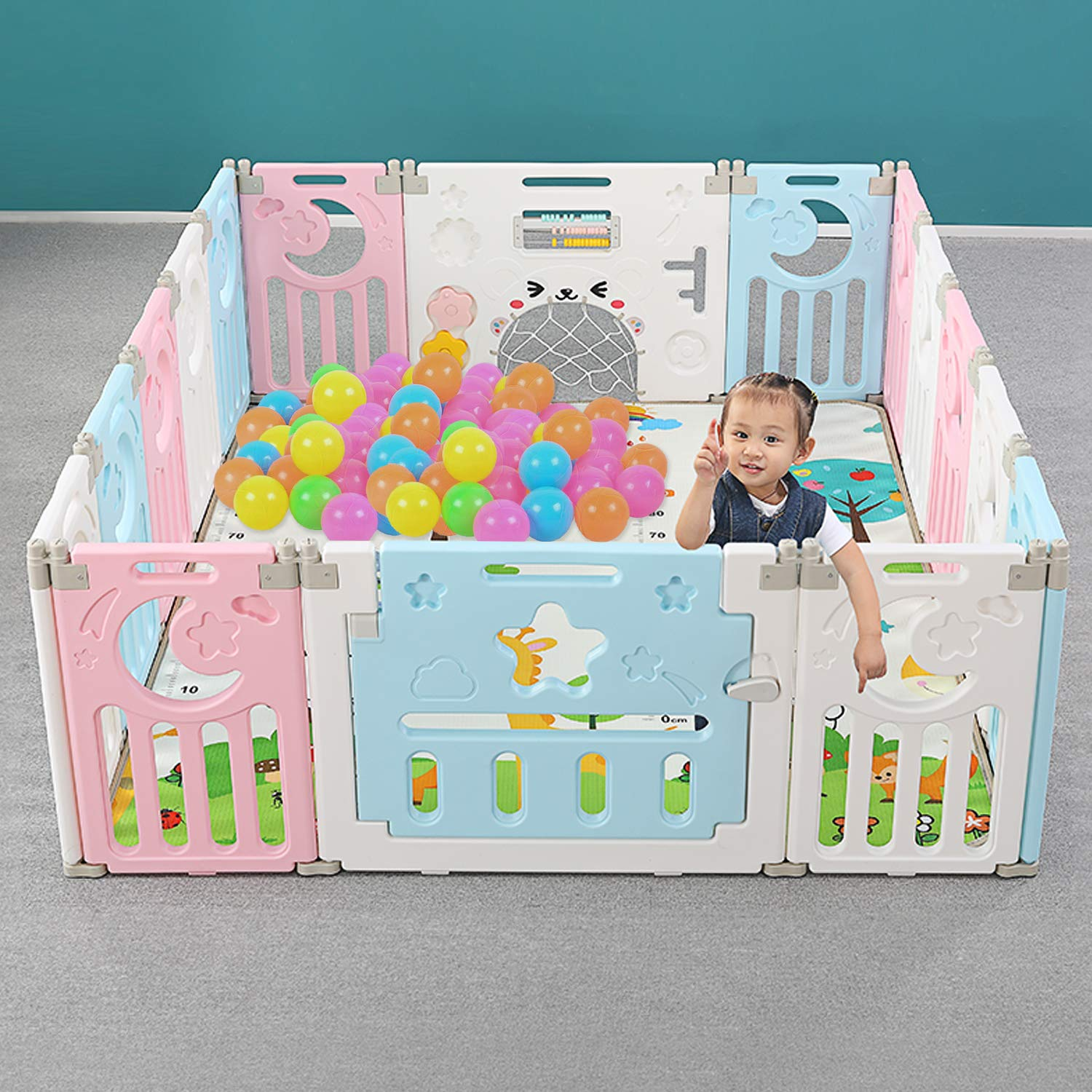Foldable Baby Playpen for Kids Activity, Portable Playpen for Baby Safety, Baby Playpen Gate with Game Door, Multicolor Design Both for Girls and Boys 12+2 Panel (White-Pink-Blue)