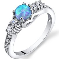 Created Powder Blue Opal Dolce Ring Sterling Silver Round Cabochon Sizes 5 to 9