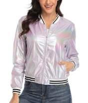 Wudodo Womens Shiny Jacket Holographic Metallic Sparkle Shimmering UV Sun Protection Disco Party Lightweight Bomber Jacket