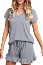 ECOWISH Womens Pajamas Shirt Elastic Drawstring Shorts Pant PJ Set Sleepwear Nightgown Casual Nightdress