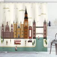"""Ambesonne London Shower Curtain, Travel Scenery Famous City England Big Ben Telephone Booth Westminster, Cloth Fabric Bathroom Decor Set with Hooks, 84"""" Long Extra, Cream"""