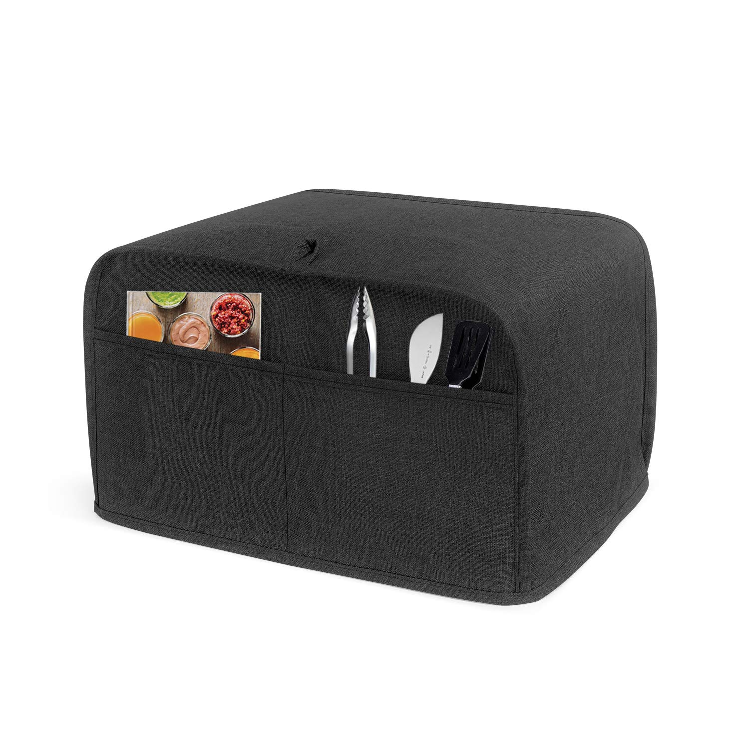 Luxja 2 Slice Toaster Cover (11 x 7.5 x 8 inches), Toaster Cover with 2 Pockets (Fits for Most Major 2 Slice Toasters), Black