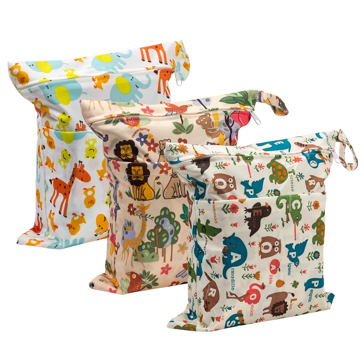 Biubee 3 Pack Wet Dry Cloth Diaper Bags - Baby Waterproof Washable Reusable Hanging Diaper Organizer