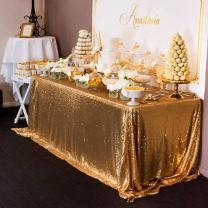 Sequin Tablecloth Rectangle Gold 50x80 Inches Wedding Table Cloths Sparkly Seamless Table Overlays Party Reception Christmas Top Table Decor