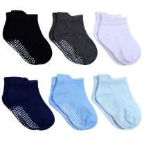 Aosler Baby Grip Ankle Socks,Anti Slip Non Skid Socks Toddler Infants Girls Boys 6 Pairs