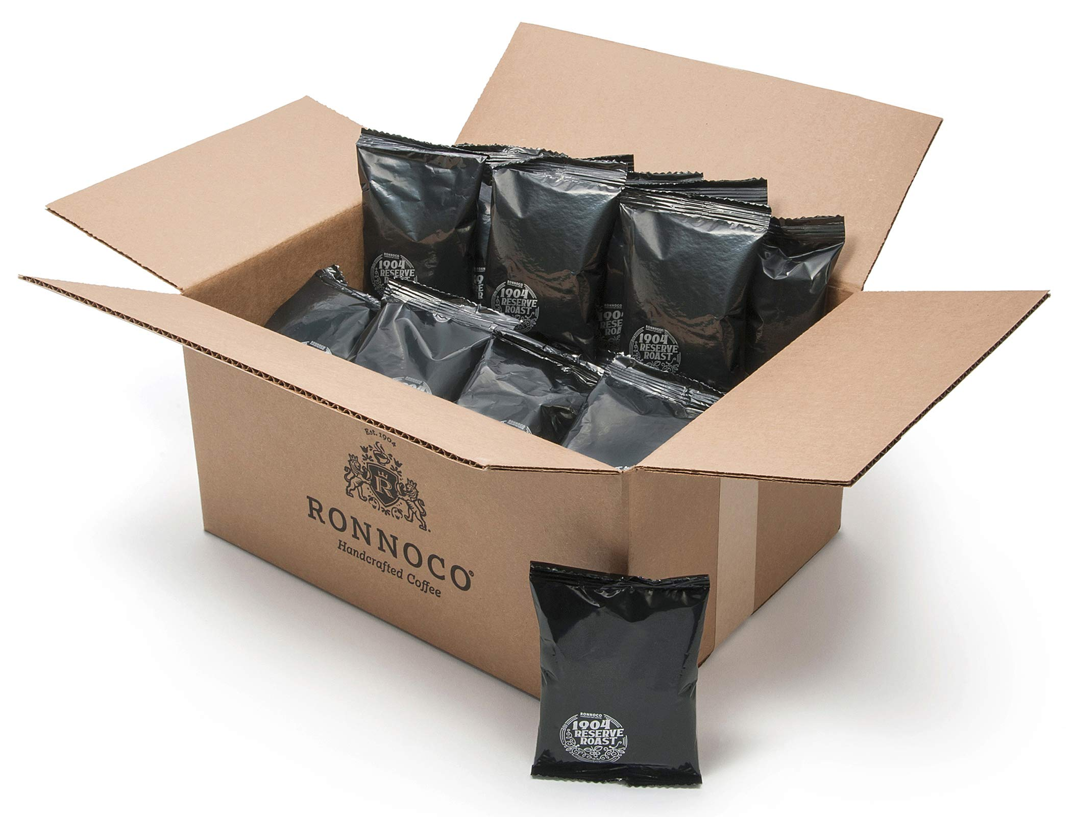 Ronnoco 1904 Reserve Roast, Handcrafted Ground Coffee Fraction Packs, Medium Roast, Bulk Single Pot Bags for Drip Coffee Makers, Individual Packets for Office, Hotel, and Restaurant, 2.5 oz (48 Count)