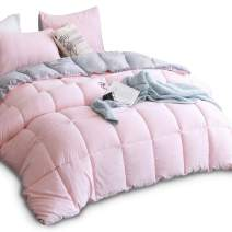 KASENTEX All Season Down Alternative Quilted Comforter Set Reversible Ultra Soft Duvet Insert Hypoallergenic Machine Washable, King, Pink Potpourri/Quartz Silver