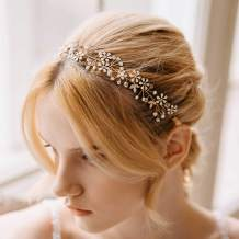 AW BRIDAL Wedding Headpieces for Bride Flower Bridal Headband Wedding Hair Accessories Bridal Hair Pieces (Gold)