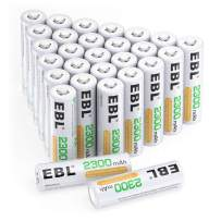EBL AA Rechargeable Batteries (2300mAh), 1.2 Volt Pre-Charged NiMH Battery - Pack of 28