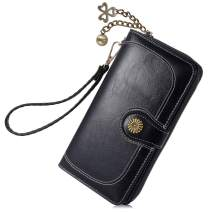 Women's Wallet, Clutch Travel Purse, PU Leather Zip Around Wallet with Zipper Pocket, Clipped Button, Multi Card Organizer Gift for Ladies(Black)