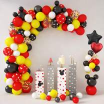 129 Pcs Cartoon Mouse Balloons Arch Garland Kit 18'' 12'' 10'' 5'' Foil Confetti Black Red Yellow White Latex Balloons for Mouse Birthday Party Supplies Decorations with Tying Tool, Balloon Strip, Glue Dots & Ribbon