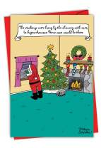 Santa's Gifts - Funny Santa Claus Christmas Note Card with Envelope (4.63 x 6.75 Inch) - Prime Member, Online Shopping Humor - Holiday and Xmas Notecard, Festive Gift C2502XSG