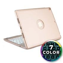 Cooper Notekee F8S Keyboard Case for iPad Air 3rd Generation, iPad Pro 10.5-inch   Wireless Clamshell Cover, 7 Color LED Backlight, Sleep/Wake (Gold)