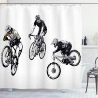 """Ambesonne Sketchy Shower Curtain, Hand Drawn Image of Cyclists Bicycle Bikes with Tour De France Theme Outdoors, Cloth Fabric Bathroom Decor Set with Hooks, 84"""" Long Extra, Black and White"""