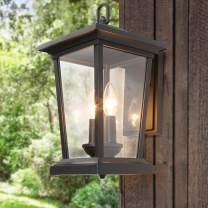 LALUZ Large Exterior Light Fixtures Outdoor Wall Lantern Sconce with Clear Glass for Garage, Doorway, Porch, Garden and Courtyard